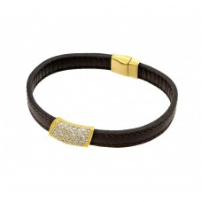 Wholesale Sterling Silver 925 Gold Plated Clear Micro Pave CZ Black Leather Bracelet - ECB004GP