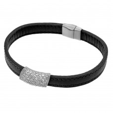 Sterling Silver Rhodium Plated Clear Micro Pave CZ Black Leather Bracelet ECB004RH
