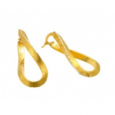 Wholesale Sterling Silver 925 Gold Plated Twisted Italian Stud Earrings - ITE00076GP