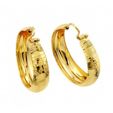 Wholesale Sterling Silver 925 Gold Plated Hoop Earrings - ITE00078GP