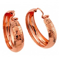 Wholesale Sterling Silver 925 Rose Gold Plated Hoop Earrings - ITE00078RGP