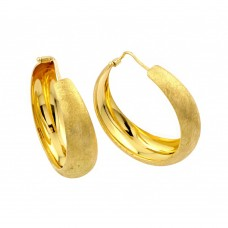 Wholesale Sterling Silver 925 Gold Plated Hoop Earrings - ITE00081GP