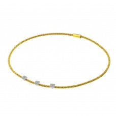 **Closeout** Wholesale Sterling Silver 925 Gold and Rhodium Plated Square Micro Pave Italian Necklace - ITN00096GP