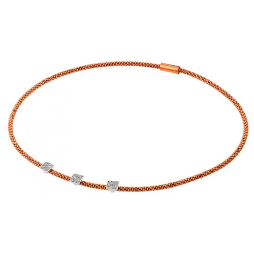 -Closeout- Wholesale Sterling Silver 925 Rose Gold Plated Three Small Square Micro Pave CZ Necklace - ITN00096RGP