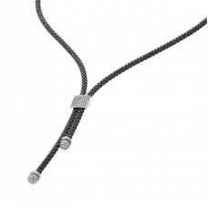 -Closeout- Wholesale Sterling Silver 925 Black and Rhodium Plated Italian Necklace - ITN00106BLK