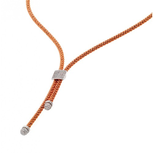 -Closeout- Wholesale Sterling Silver 925 Rose Gold and Rhodium Plated Italian Necklace - ITN00106RGP