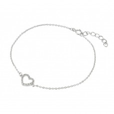 Wholesale Sterling Silver 925 Rhodium Small Open Heart Clear CZ Outline Bracelet - BGB00212