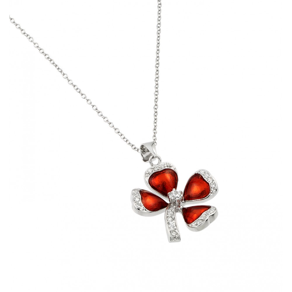 Wholesale Sterling Silver 925 Rhodium Plated Clear CZ Clover Pendant Necklace - BGP00976