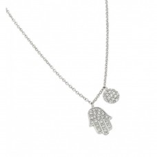 Wholesale Sterling Silver 925 Rhodium Plated Clear CZ Religious Hand Pendant Necklace - BGP00977