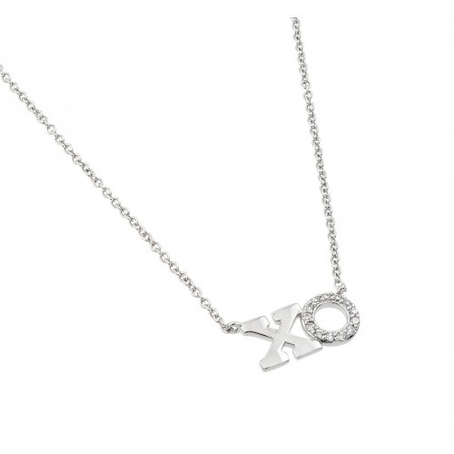 Wholesale Sterling Silver 925 Rhodium Plated Clear CZ XO Pendant Necklace - BGP00980