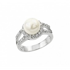 Sterling Silver Rhodium Plated Clear Cluster CZ Synthetic Pearl Ring - BGR00878