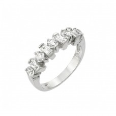 Wholesale Sterling Silver 925 Rhodium Plated Clear Round and Baguette CZ Half Row Ring - BGR00900