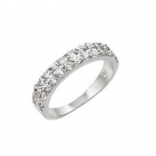 Wholesale Sterling Silver 925 Rhodium Plated Clear Inlay CZ 2 Row Half Ring - BGR00902