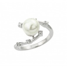 Sterling Silver Rhodium Plated Clear CZ Synthetic Pearl Curve Ring - BGR00906