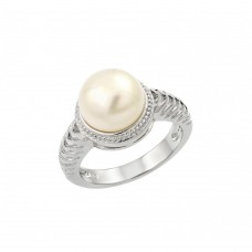 Sterling Silver Rhodium Plated Fresh Water Pearl Center Rope Ring - BGR00908