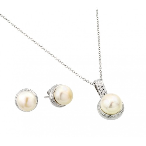 Wholesale Sterling Silver 925 Rhodium Plated Fresh Water Pearl Rope Border Matching Set - BGS00448