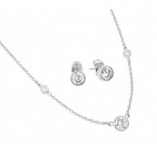 Wholesale Sterling Silver 925 Rhodium Plated Clear Individual CZ Stud Earring and Chain Necklace Set - BGS00449