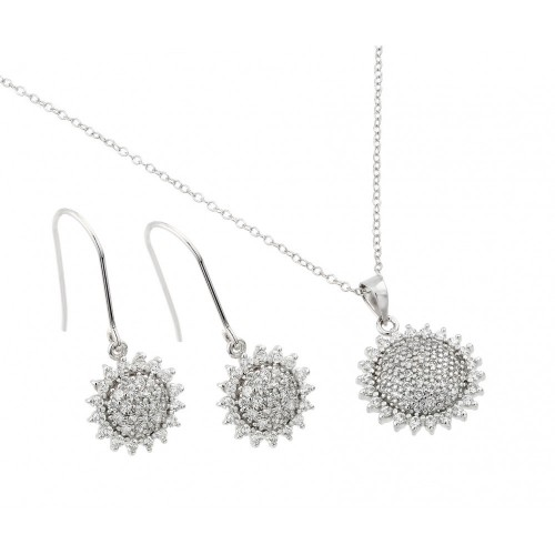 Wholesale Sterling Silver 925 Rhodium Plated Clear Pave Set Sun CZ Hook Earring and Necklace Set - BGS00450