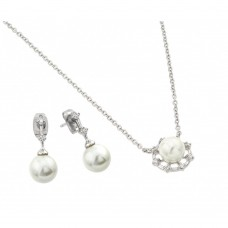 Wholesale Sterling Silver 925 Rhodium Plated Pearl Drop Clear CZ Hanging Stud Earring and Necklace Set - BGS00451
