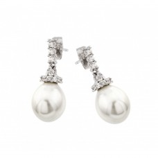 Wholesale Sterling Silver 925 Rhodium Plated CZ Hanging Pearl Stud Earrings - BGE00423