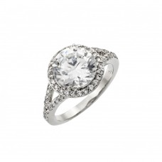 Wholesale Sterling Silver 925 Rhodium Plated Clear Round and Cluster CZ Bridal Ring - BGR00873