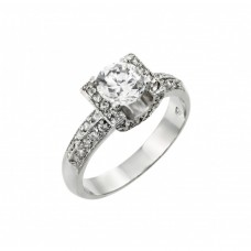 Wholesale Sterling Silver 925 Rhodium Plated Clear Round Center and Pave Set CZ Square Ring - BGR00895
