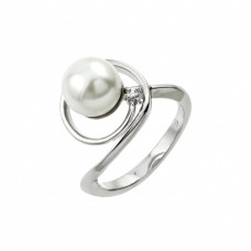 Sterling Silver Rhodium Plated Loop Synthetic Pearl Ring - BGR00907