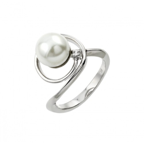 Wholesale Sterling Silver 925 Rhodium Plated Loop Synthetic Pearl Ring - BGR00907