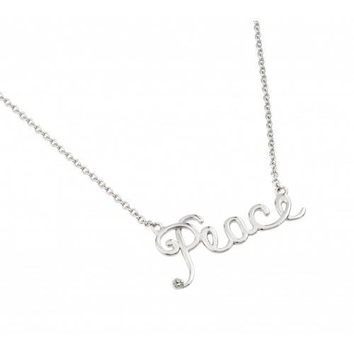 Wholesale Sterling Silver 925 Rhodium Plated Clear CZ Peace Pendant Necklace - STP01447