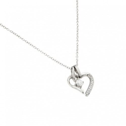 Wholesale Sterling Silver 925 Rhodium Plated Clear CZ Heart Pendant Necklace - STP01450