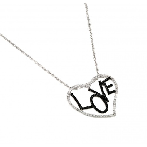 Wholesale Sterling Silver 925 Rhodium Plated Clear CZ Heart Black Rhodium Plated Black CZ Love Pendant Necklace - STP01460