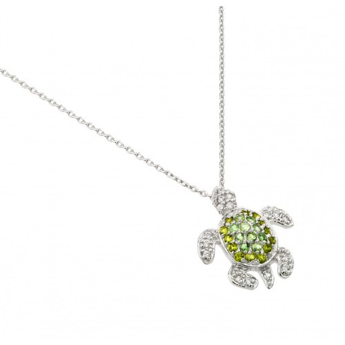 Wholesale Sterling Silver 925 Rhodium Plated Green CZ Turtle Pendant Necklace - STP01461
