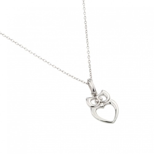 Wholesale Sterling Silver 925 Rhodium Plated Owl Pendant Necklace - STP01462