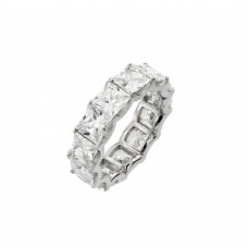 Wholesale Sterling Silver 925 Rhodium Plated Eternity Square Clear CZ Ring - STR01017
