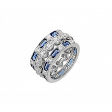Wholesale Sterling Silver 925 Rhodium Plated Blue Baguette and Round Clear CZ Ring - STR01019