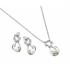 Wholesale Sterling Silver 925 Rhodium Plated Open Cat CZ Center Pearl Dangling Stud Earring and Necklace Set - STS00497
