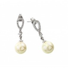Wholesale Sterling Silver 925 Rhodium Plated Pearl Earring - BGE00417