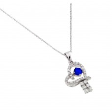 Wholesale Sterling Silver 925 Rhodium Plated Blue CZ Heart Pendant - BGP00718