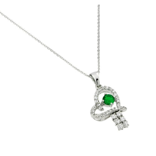 Wholesale Sterling Silver 925 Rhodium Plated Green CZ Heart Pendant - BGP00720