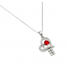 Wholesale Sterling Silver 925 Rhodium Plated Red CZ Heart Pendant - BGP00717