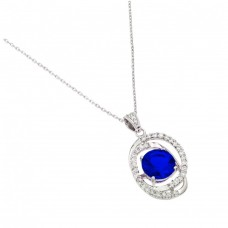 Wholesale Sterling Silver 925 Rhodium Plated Blue CZ Circle Pendant - BGP00722