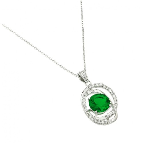 Wholesale Sterling Silver 925 Rhodium Plated Green CZ Circle Pendant - BGP00724