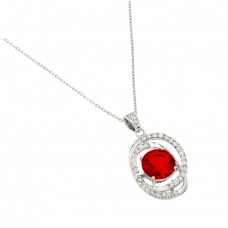 Wholesale Sterling Silver 925 Rhodium Plated Red CZ Circle Pendant - BGP00721