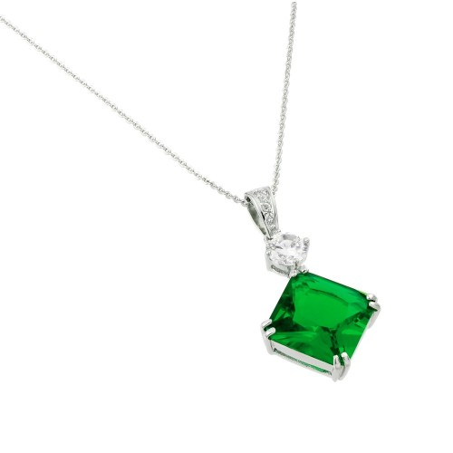 Wholesale Sterling Silver 925 Rhodium Plated Green CZ Square Pendant - BGP00728