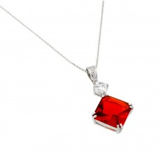 Wholesale Sterling Silver 925 Rhodium Plated Red CZ Square Pendant - BGP00725