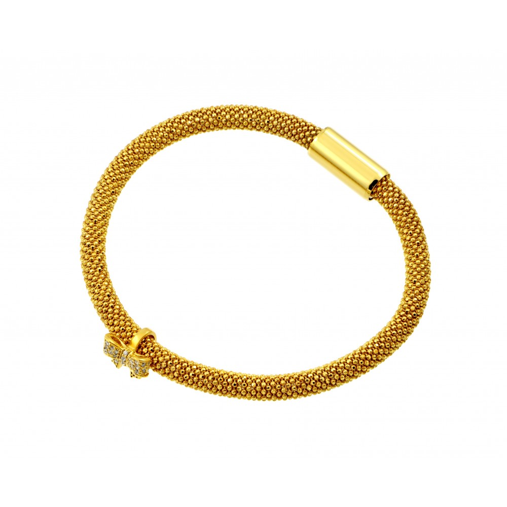 -Closeout- Wholesale Sterling Silver 925 Gold Plated Bowtie Bracelet - ITB00179GP