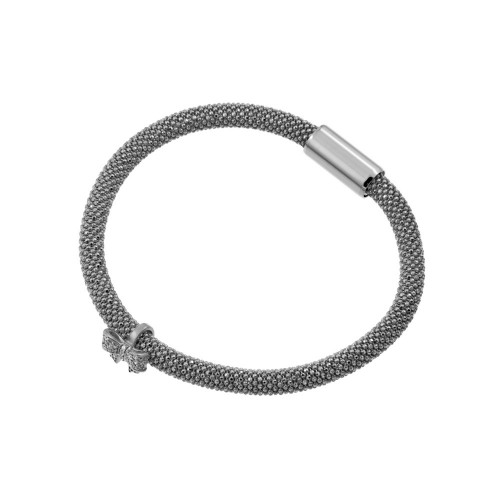 -Closeout- Wholesale Sterling Silver 925 Rhodium Plated Bowtie Bracelet - ITB00179RH