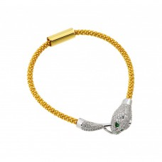**Closeout** Wholesale Sterling Silver 925 Gold Plated Animal Clear and Green CZ Bracelet - ITB00182GP