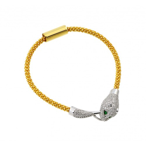-Closeout- Wholesale Sterling Silver 925 Gold Plated Animal Clear and Green CZ Bracelet - ITB00182GP