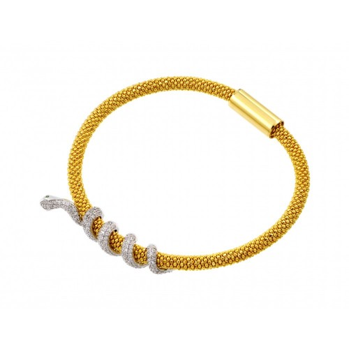 -Closeout- Wholesale Sterling Silver 925 Gold Plated Snake Wrap Bracelet - ITB00185GP